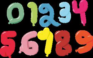 בלונים בצורות של מספרים